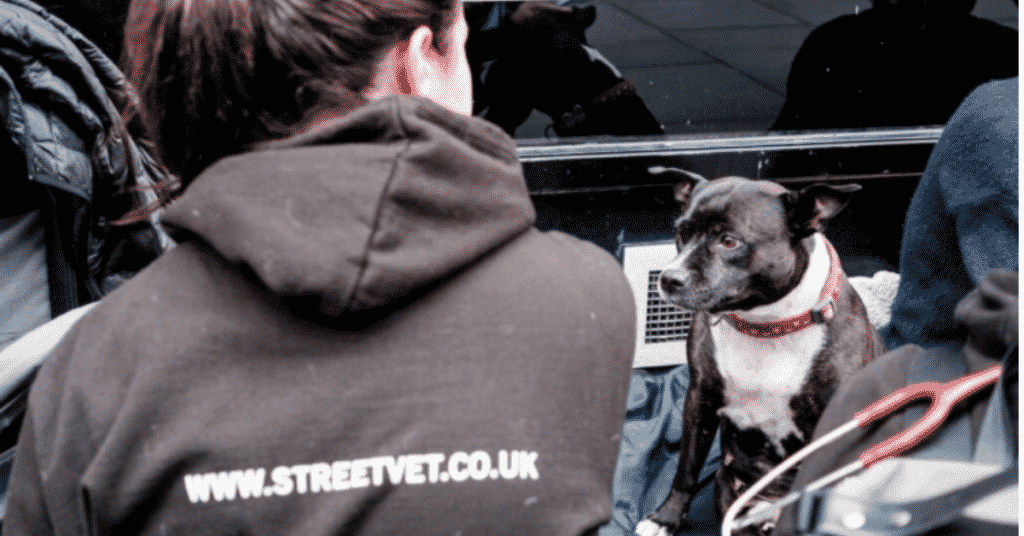 Jade Statt wearing a StreetVet branded black sweatshirt faces away from the camera seated opposite a black and white dog