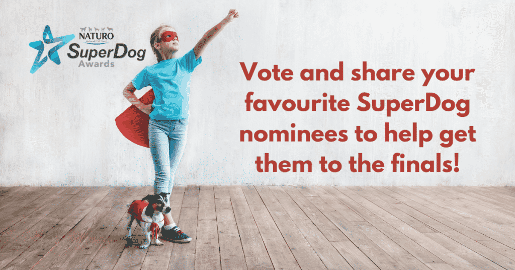 Vote for your favourite superdog nominee. IMAGE OF YOUNG GIRL AND HER DOG BOTH WEARING RED SUPERHERO CAPES